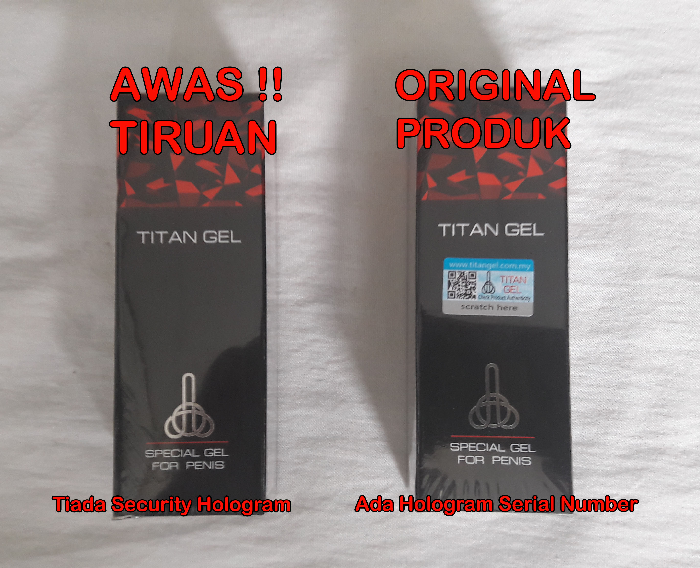 titan gel original vs tiruan